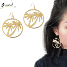 Hip-hop Exaggeration Hollow Coconut Tree Shape Drop Earrings For Women Party Fashion Jewelry Oorbellen Brincos Pendientes Bijoux