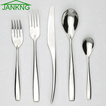 JANKNG 30 Pcs/ Lot Dinnerware Set Stainless Steel Cutlery Dinner Knife Fork Dessert Fork TeaSpoon Tableware Service for 6(China)
