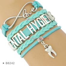 (10 PCS/lot)Infinity Love Dental Hygienist Tooth Charm Multilayer Bracelet Light Blue White Suede and Leather Bracelets Jewelry