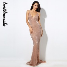 Love&Lemonade Sexy Champagne Elastic Sequin V Collar Exposed Back Maxi Dress   LM0233