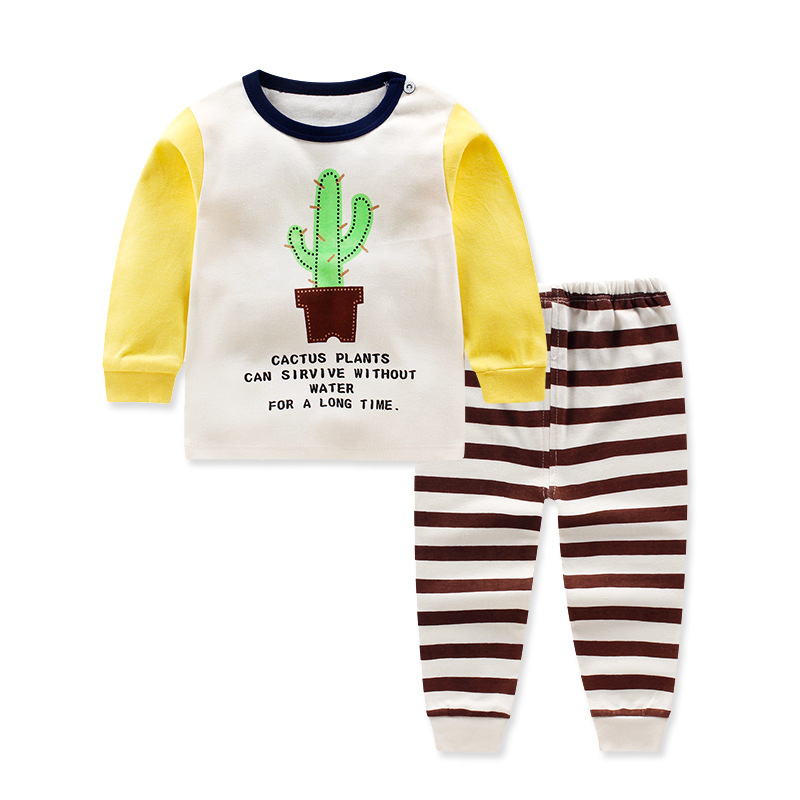 Stripe Long sleeve pullover cotton Babys Sets Cartoon Baby girls boys clothes 82001-82003<br>