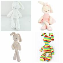 Lovely Bunny Rabbit Plush Toy Soft Rainbow Strip Beige Rabbit  Kids Gift Stuffed Animals Dolls For Baby Cot Bedding Set