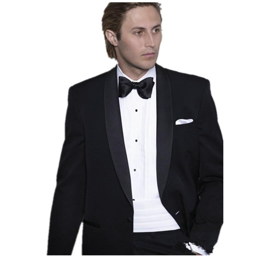 Grey suit black tie groom