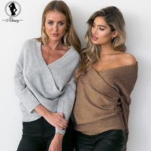 ALINRY 2017 fashion winter off shoulder knitted sweater v neck oversized sweater Long sleeve Casual sexy woman pullovers Jumpers