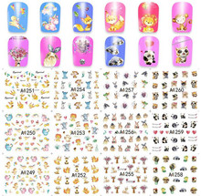 One Set 12 Design Women Water Decals Nail Art Nails Stickers Cartoon Animal Flower Succulent Plants Butterfly Stikers(China)
