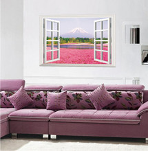 beautiful landscape Japan Fujisan pink flower lake 3d window view wall sticker scenery home decor living room mural art poster