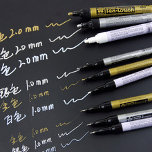 Sakura Pen-Touch Paint Marker 3 pcs/lot Gold/Silver/White 0.7mm/1mm/2mm Mark On Any Thing Glass/Cloth/Metal(China)