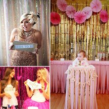 1Mx1M shimmering Metallic Tinsel Curtain Foil wedding decoration backdrop Room Shiny Pub party Stage party decoration Background