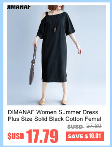 DIMANAF Women Summer Dress Big Size Cotton Linen Casual Soft Style Black Polka Dot Oversized Loose Female Sundress Clothing 2018 6