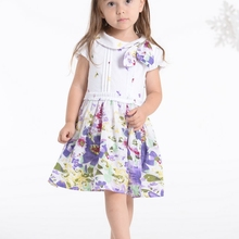 new Design Floral Printed girls Purple flower girl dress antique cotton party beach dress in stock