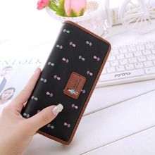 Cross pattern Cute Long Wallets Ladies Clutch Bags Flowers Printing Hasp Women Wallet Purse Card Holder portefeuille femme
