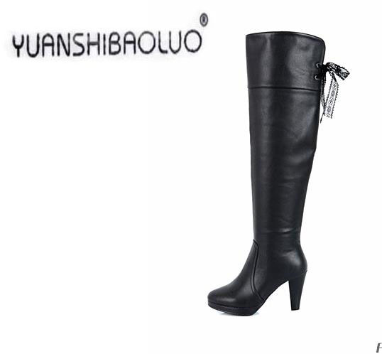 2015 womens winter boots thick waterproof high knee-high boots boots with thin leg and Martin boots size 35-40 free shipping<br><br>Aliexpress