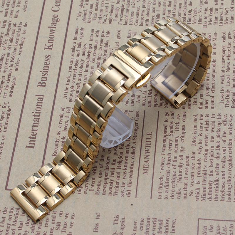 2017 New Fashion solid Link Bracelets Gold Plated Wristband Bracelets For Men Women hours 14mm 15mm 16mm 18mm 19mm 20mm 21mm<br><br>Aliexpress