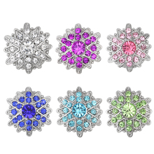 10pcs/lot Mrs Win Snap Jewelry Rhinestone Flower Pink Crystal Snap Fit Snap Bracelets for Women Buttons