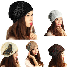 Women Autumn Winter Fashion Hedging Hat Lace Butterfly Beanies Warm Turban Cap Headgear(China)