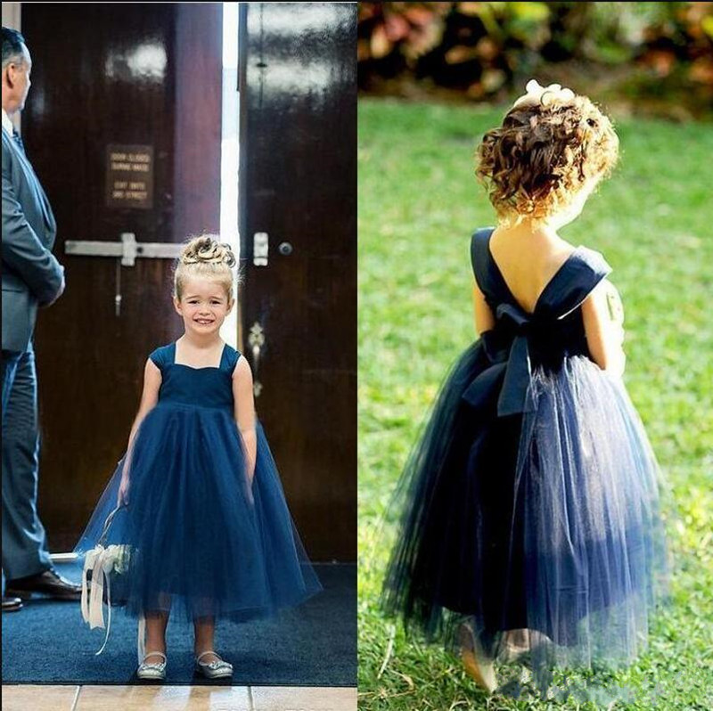 Simple Design Tulle Princess Dress Square Neck First Communion Gowns with Ribbon Open Back Custom Made Girls Pageant Gowns Cheap