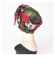 red skull rose and gingham print rockabilly turban pinup bow headband bandans hair scarf wrap hair accessories bandeau cheveux