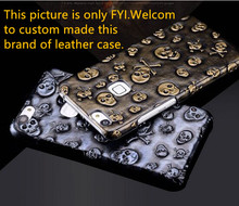 Skull patterm genuine leather hard cover for Samsung Galaxy C5 leather cover for Samsung Galaxy C5000 phone case