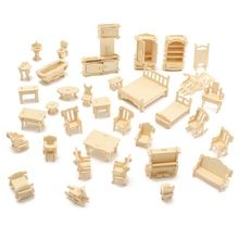 Cute 34Pcs 3D DIY Wooden Miniature Dollhouse Furniture For Dolls Building Model Unpainted Suite Toys DIY For Kids Gift Craft(China)