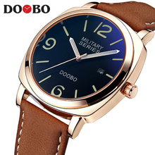 Rose Gold Watches Men 2017 Luxury Brand Men's Quartz Hours Date Clock Male Military Leather Casual Waterproof Sports Wrist watch(China)
