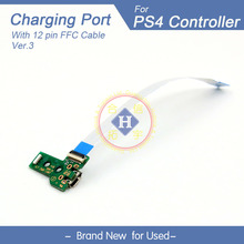 Power Charging Port Socket Board JDS-030 +12 pin Eject Ribbon Flex Cable For PS4 Controller gamepad Repair Parts