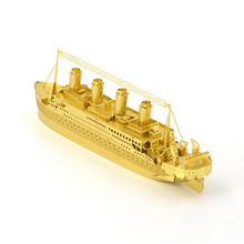 New Titanic Ship Puzzles Models Golden Copper 3D DIY Assembly Dimensional Educational Puzzles Children Gifts Toys Collections