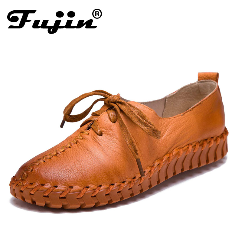 Genuine Leather Loafers Casual Platform Shoes Woman Slip On Flats 2017 Bowtie Moccasin Comfortanble Creepers Women Shoes<br>
