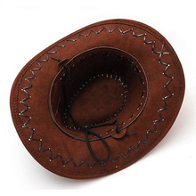Coffee Cowboy Hat Suede Look Wild West Fancy Dress Men Ladies Cowgirl Unisex Hat Useful(China)