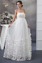 Jeanne Love 2017 White Empire Wedding Dresses For Pregnant Bride Strapless Tulle Butterfly Petals Decoration Bridal Gown YN 9609(China)