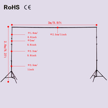 2.8m*3m/9.2ft*9.8ft Photo Background Backdrop Support Stand System Kit Set