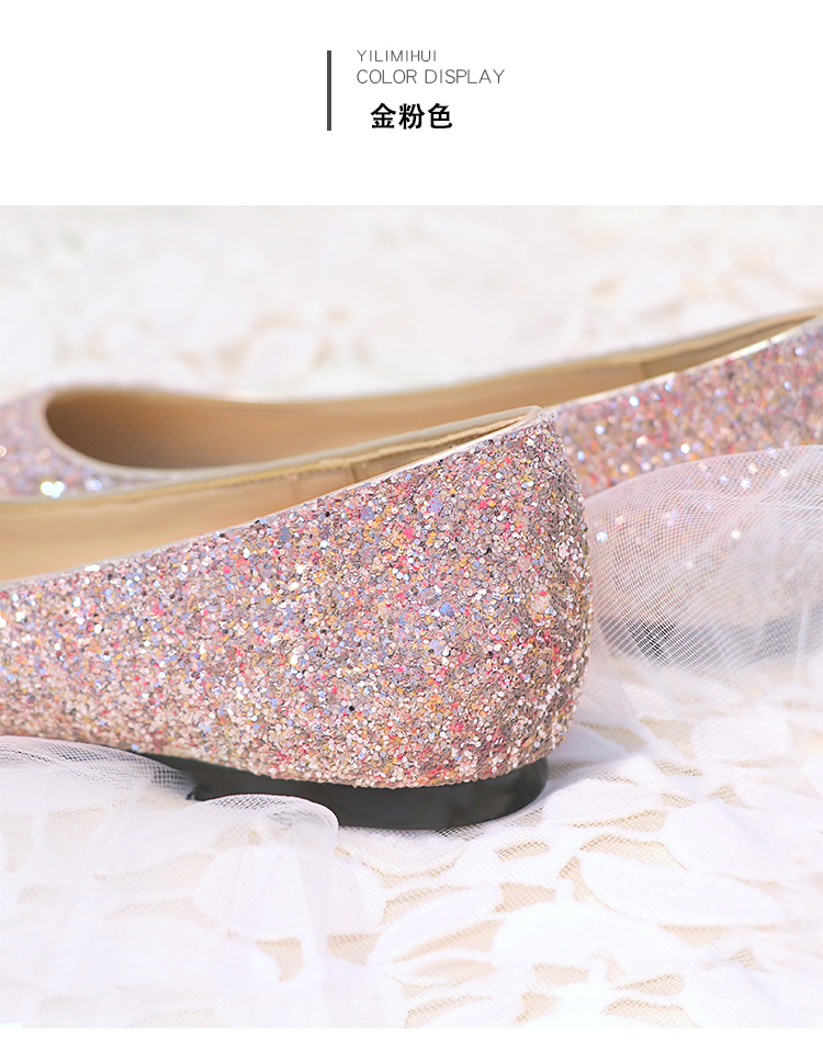 New wedding sequins flat Women s shoes female pointed single flat ... a50424181928