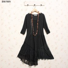 lace patchwork irregular handmade crochet dress spain euro inverno tunique femme plus size women clothing robe femme hippie boho