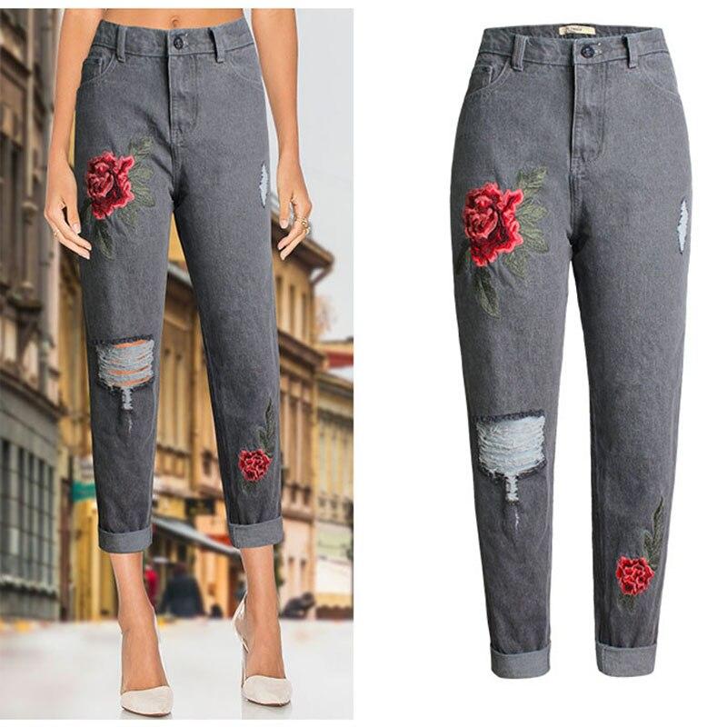 2017 New Vogue Women Clothing Hot Denim Pants Hole Ripped Jeans Embroidery High Waist BF Trendy Loose Jeans Female Denim Pants Îäåæäà è àêñåññóàðû<br><br>