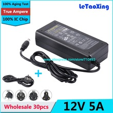 30pcs AC DC Adapter 12V 5A Power supply 12V 60W Adaptor 5.5mm x 2.5mm & 5.5mm x 2.1mm DHL Free shipping With IC Chip