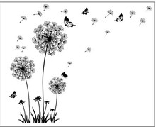 """Butterfly Flying In Dandelion ""bedroom Living room stickers Style Wall Stickers Design PVC Wall Decals 5125(China)"