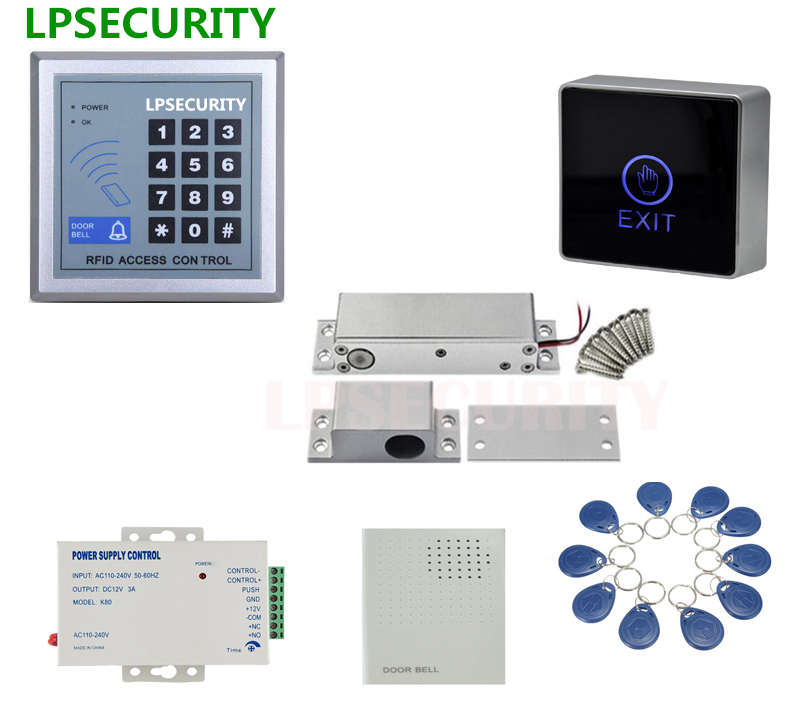 LPSECURITY RFID keypad DC12V Door gate Access Control low temperature electric locks,side mounted electric drop bolt lock 10tags<br>
