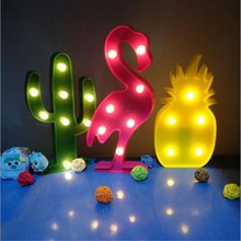 3D Flamingo Pineapple Cactus Coconut Tree Party Props LED Lamp Night Lights Desk Wedding Decor Gift Kids Room Bedroom Home Decor