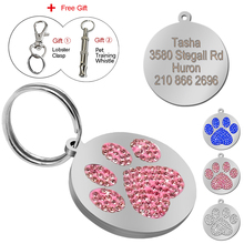 Glitter Paw Pet ID Tags Custom Personalized Engraved Name Phone Number Tag for Dog & Cat Pet Collar Accessories With Free Gift(China)