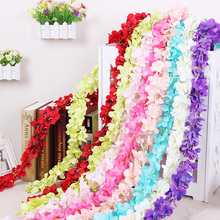 7PCS=200CM Home Fashion Artificial Hydrangea Party Romantic Wedding Decorative Garlands of Artificial Flowers Silk Wisteria