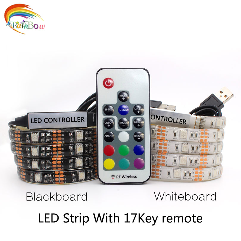 DC5V USB LED strip 5050 RGB Flexible Light 1M TV Background Lighting RGB LED strip Adhesive Tape IP20 / IP65 waterproof strip(China)