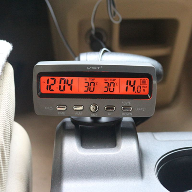 Multipal Fuctions Car Thermometer Clock Voltmeter Automotive Interior and Exterior Temperature Meter Calendar Clock VST7045V<br><br>Aliexpress