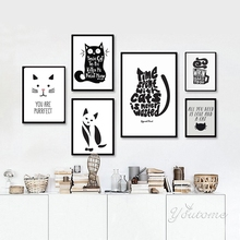 Black and White Cat, Animals Quote Modern Poster Canvas Printings Wall Canvas Art Prints Wall Pictures for Living Room no frame(China)