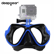 Deepgear sea dive mask Top adult camera mount scuba mask to Gopro Black silicone blue snorkel mask Top nearsighted snorkel mask(China)