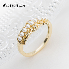 Aitunan Vintage Lace Ring Zircon 925 Sterling Silver Rings For Women Mini Shell Pearl Ring Gold Color Sterling Silver Jewelry(China)