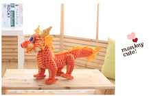 small creative plush chinese dragon toy tranditional red Chinese dragondoll gift about 40cm(China)