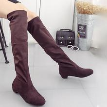 New Fashion Black Over Knee Boots Suede Leather Boots With Warm Plush Handmade High Quality Classical Botas Women Shoes
