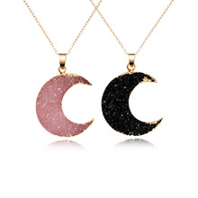 1PC Fashion Druzy Resin Moon Pendant Necklace For Women Gold Color Black Drusy Chain Necklace Jewelry N353-T2(China)
