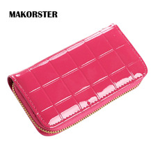 MAKORSTER Fashion Ladies Brand Long Women Patent Leather Credit Card Holder Money Wallets and Purse for Female Girls DJ0150