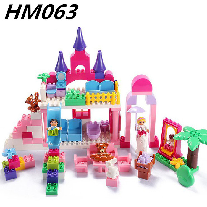 117pcs Girls Princess Castle size bricks Large particles Educational Baby Toys DIY birthday Christmas gifts Compatible Duploe<br>