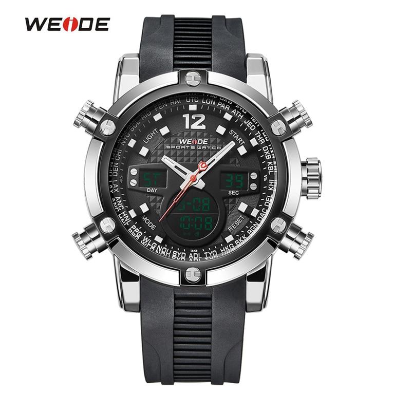 WEIDE Fashion Sport Watch Stainless Steel Case Waterproof Men Quartz Casual Military Wristwatch Multifunction Relogio<br>